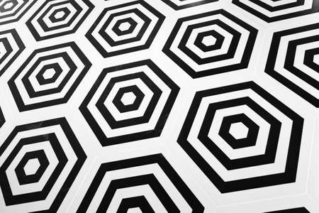 Decorative tiling, black and white hexagonal geometric pattern, abstract background texture