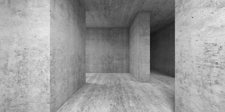 Empty gray concrete room interior. Abstract architectural background, 3d render illustration Imagens