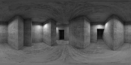 360 degree spherical seamless VR panorama. Abstract empty concrete room interior, exhibition hall with walls and columns, 3d rendering illustration