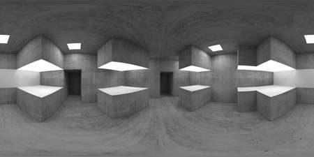 360 degree spherical seamless VR panorama. Empty concrete exhibition hall interior with walls and light stands, 3d rendering illustration Imagens