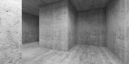 Empty gray concrete room interior. Abstract minimal architectural background, 3d render illustration