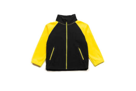 Yellow back fleece jacket isolated on white background, front view