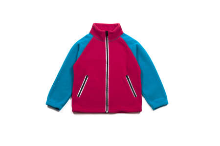 Blue pink fleece jacket isolated on white background, front view Imagens