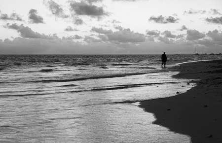 Atlantic ocean coast. Morning black and white landscape photo, Dominican republic. Bavaro beach Imagens