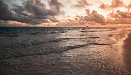 Bavaro beach sunset. Dominican Republic, coastal landscape