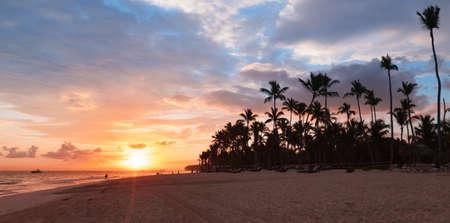 Tropical sunrise over Atlantic Ocean coast, Bavaro beach, Dominican Republic, coastal panoramic landscape