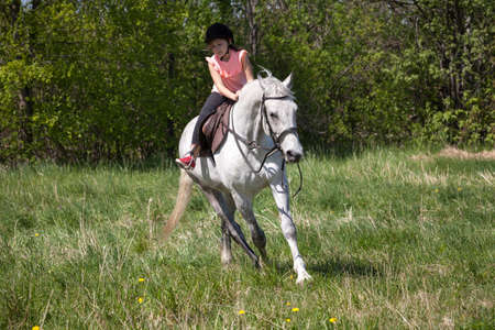 Little girl in pink rides a white horse breed Orlov trotter at sunny summer day Imagens
