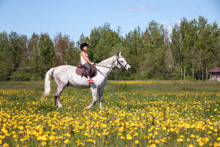 Little girl rides a white horse over a meadow at sunny day Imagens