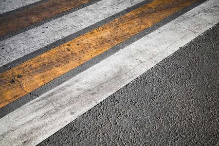Pedestrian crossing, yellow white stripes, road marking zebra, urban transportation background photo Stock Photo