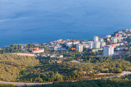 Foros, coastal landscape with Black Sea and urban-type settlement in the Yalta Municipality, Crimea
