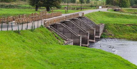 Wooden lock at Tikhvinka river. Part of Tikhvinskaya water system