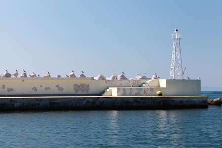White truss design lighthouse tower in port of Nesebar, Bulgaria 版權商用圖片