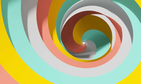 Abstract digital background with colorful spiral tunnel, 3d rendering illustration