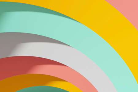Abstract digital background with colorful round stripes, 3d rendering illustration