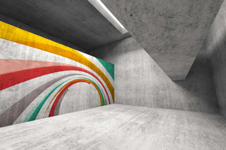 Abstract concrete interior with graffiti installation, 3d rendering illustration Stock fotó