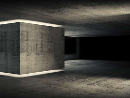 Abstract concrete interior, dark room with neon illuminated box installation and black background, 3d rendering illustration