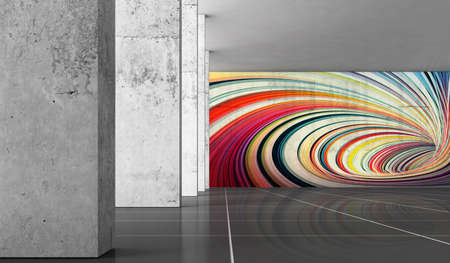 Abstract concrete hall interior background, gray walls, columns and graffiti, 3d rendering illustration