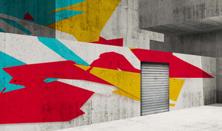 Abstract concrete interior background, gray walls with metal door and colorful graffiti, 3d rendering illustration