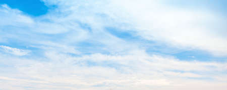 Panoramic blue sky with clouds at daytime, natural background photo texture