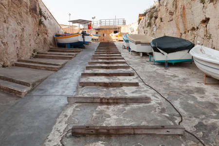Street view with the way to the Blue Grotto Trips Departure Wharf. Malta
