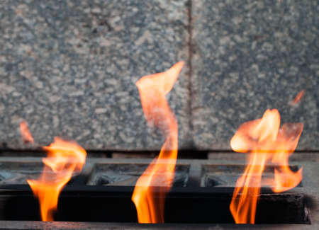 Eternal flame burns at Soviet soldiers WWII memorial in Russia