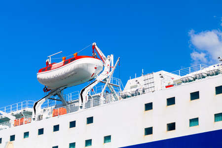 Rescue boat, safety equipment of a passenger cruise ship 版權商用圖片