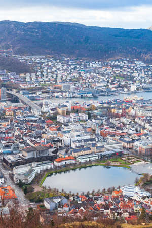 Bergen aerial view with Lille Lungegardsvannet. It is a small octagonal lake in city of Bergen, Hordaland county, Norway