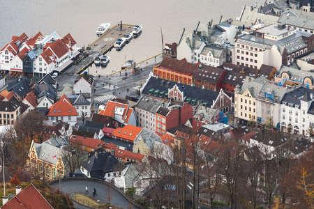Bergen port, Norway. Aerial view taken on a daytime 版權商用圖片