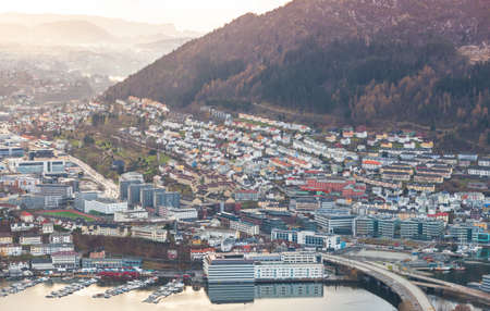 Bergen Norway, aerial city view with modern living houses taken on a day time 版權商用圖片