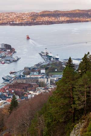 Aerial view of Bergen, Norway. Port district, vertical photo