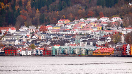 Bergen, Norway. Coastal landscape view with colorful living houses on hills