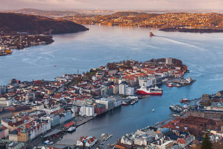 Norway, Bergen Havn. Aerial view on a spring morning 版權商用圖片