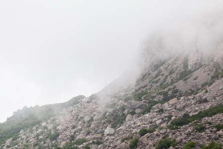 Mountain Crimean landscape on a foggy summer day. Crimea peninsula, Black Sea coast