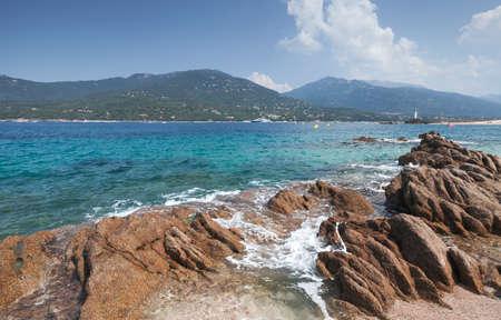 Coastal rocks on a sunny summer day, Propriano, landscape of Corsica island, France
