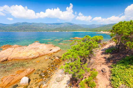 South Corsica, summer landscape with coastal rocks on a sunny day. Cupabia beach 版權商用圖片