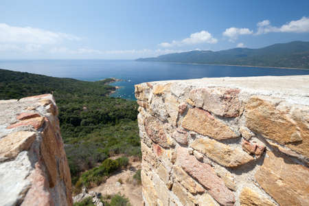 Cupabia bay view taken from Campanella tower viewpoint. Corsica island, France. This coastal defense tower constructed by the Republic of Genoa between 1530 and 1620 and now is free for visit