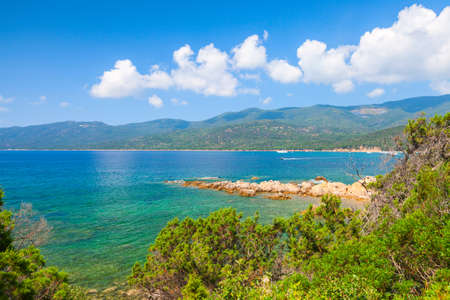 Coastal landscape of Corsica island on a  sunny summer day, Cupabia beach distriact, France