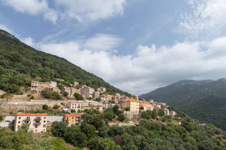 Olmeto general view on a summer day, it is a commune in the Corse-du-Sud department of France on the island of Corsica
