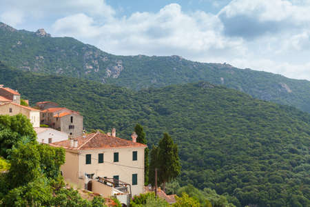 Mountain landscape with old houses on a summer day, Olmeto commune in the Corse-du-Sud department of France on the island of Corsica 版權商用圖片
