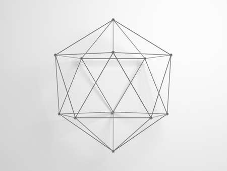 Regular icosahedron. Lattice wire-frame geometric structure over white background with soft shadow, 3d rendering illustation
