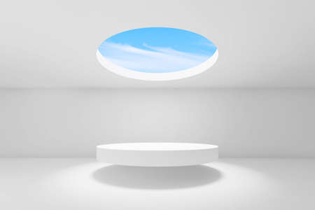 Abstract empty white interior background, showroom with round ceiling light and podium under it. 3d rendering illustration