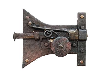 Vintage black iron door lock isolated on white background