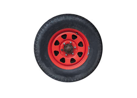 SUV car wheel on a red steel disc isolated on white background 版權商用圖片