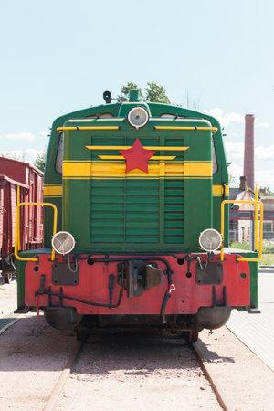 Vintage Soviet diesel locomotive, front view