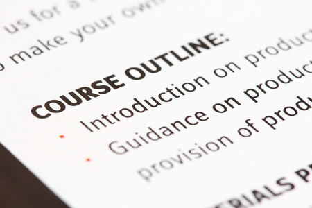 explanations: A macro view of a course outline Stock Photo