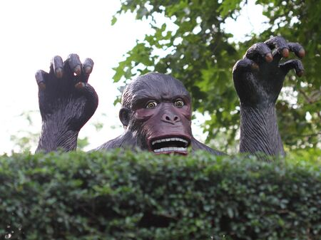 Statue of a monkey rising up from the bushes Stock Photo - 15373336