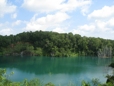 groundwater: An abandoned quarry filled with groundwater to form a pond