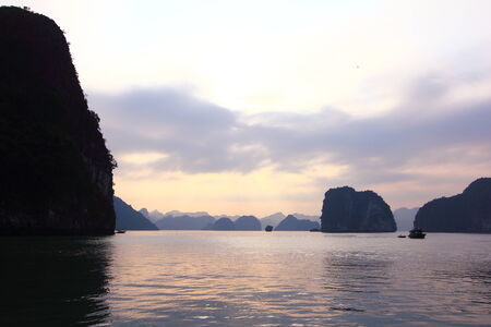 ha: Sunset, Ha Long Bay Stock Photo