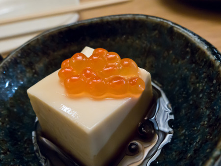 beancurd: Japanese appetizer of beancurd with salmon roe
