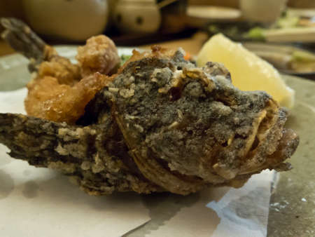 stonefish: Plate of deep fried Japanese stonefish served for omakase Stock Photo